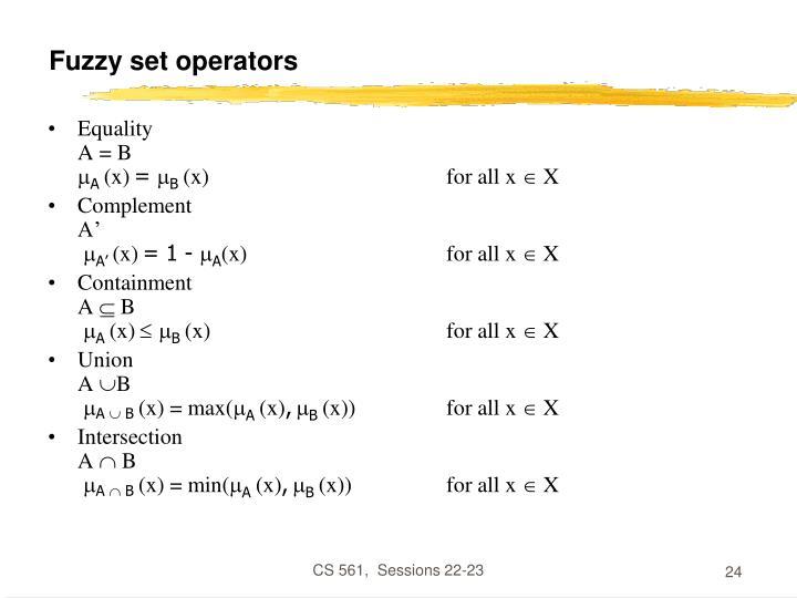 Fuzzy set operators