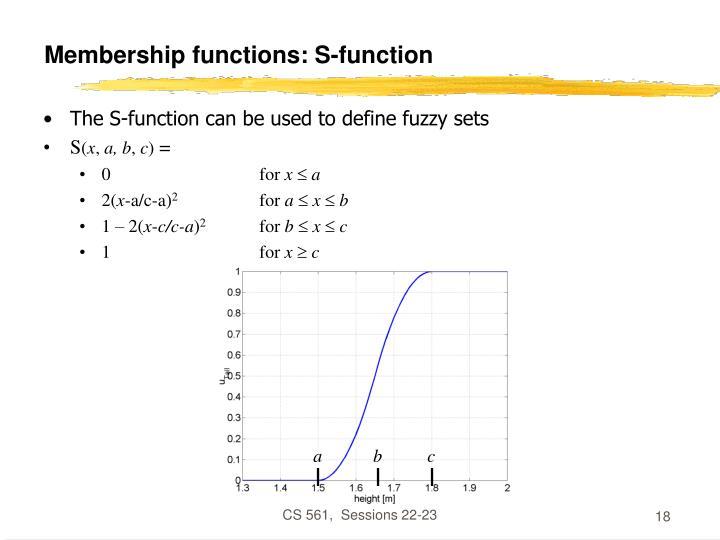 Membership functions: S-function