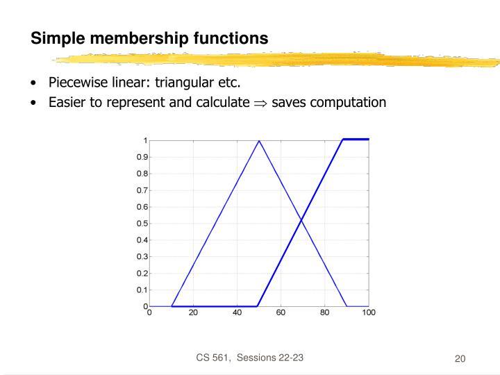 Simple membership functions