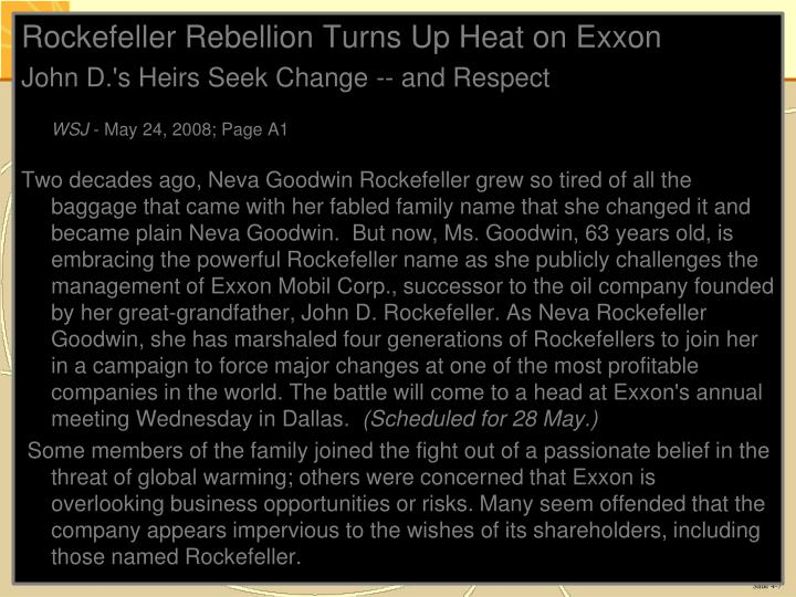 Rockefeller Rebellion Turns Up Heat on Exxon