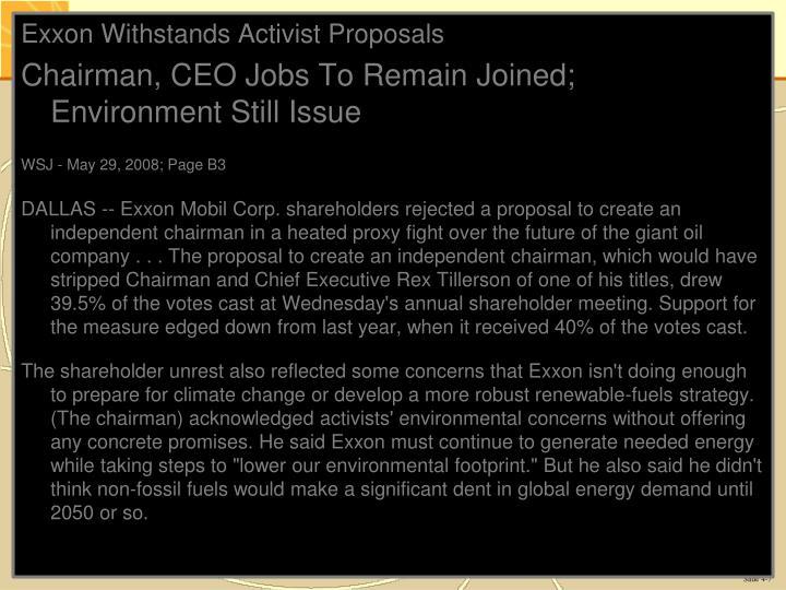 Exxon Withstands Activist Proposals