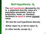null hypothesis h 0
