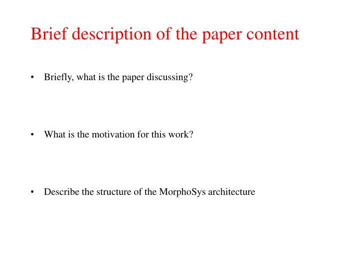 Brief description of the paper content