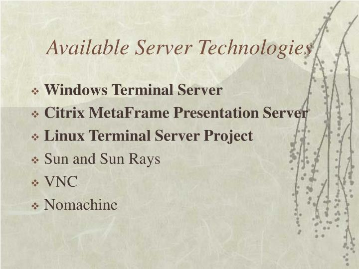 Available Server Technologies