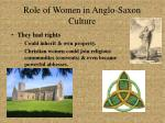 role of women in anglo saxon culture