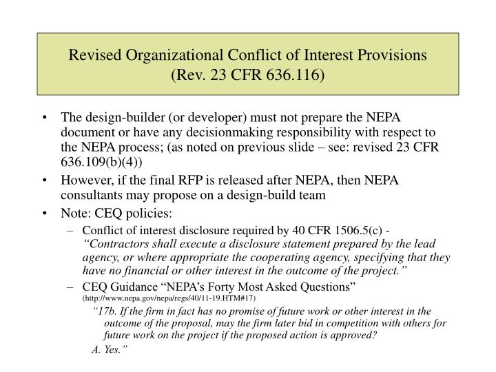 Revised Organizational Conflict of Interest Provisions