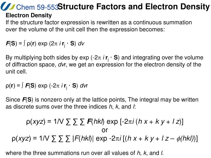Structure Factors and Electron Density