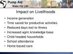 impact on livelihoods