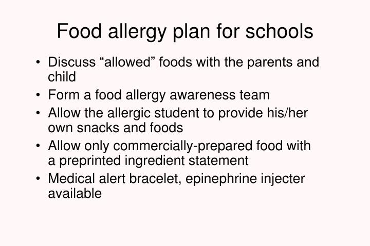 Food allergy plan for schools