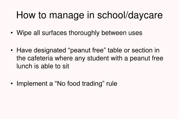 How to manage in school/daycare