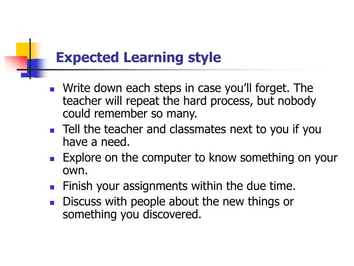 Expected Learning style
