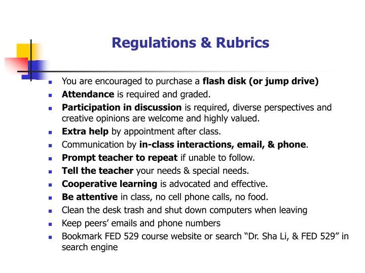 Regulations & Rubrics