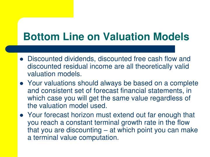 Bottom Line on Valuation Models