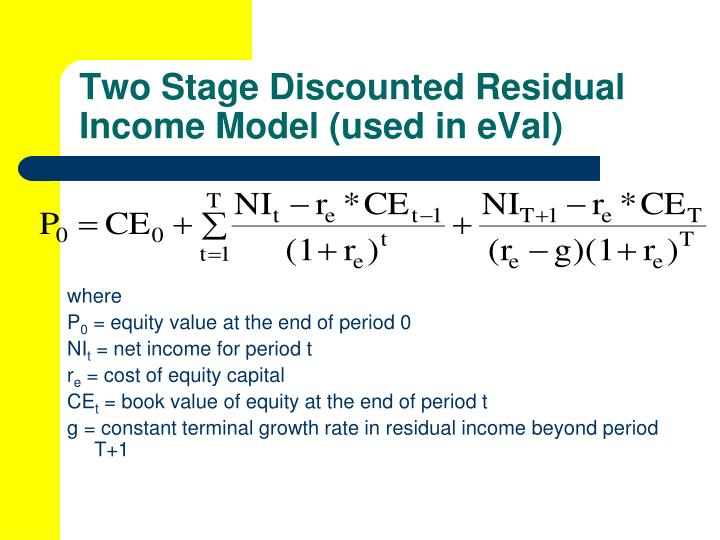 Two Stage Discounted Residual Income Model (used in eVal)