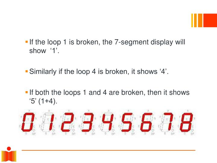 If the loop 1 is broken, the 7-segment display will show  '1'.