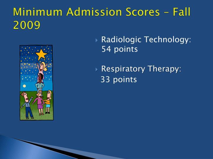 Minimum Admission Scores – Fall 2009