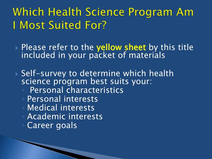Which health science program am i most suited for