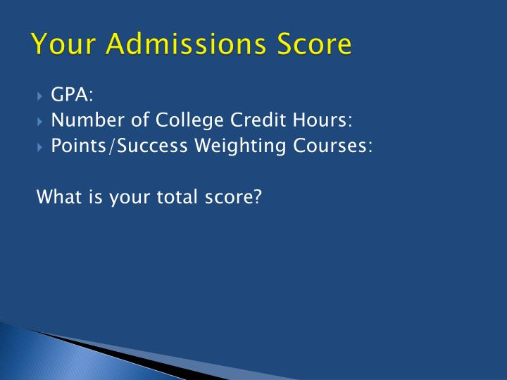Your Admissions Score