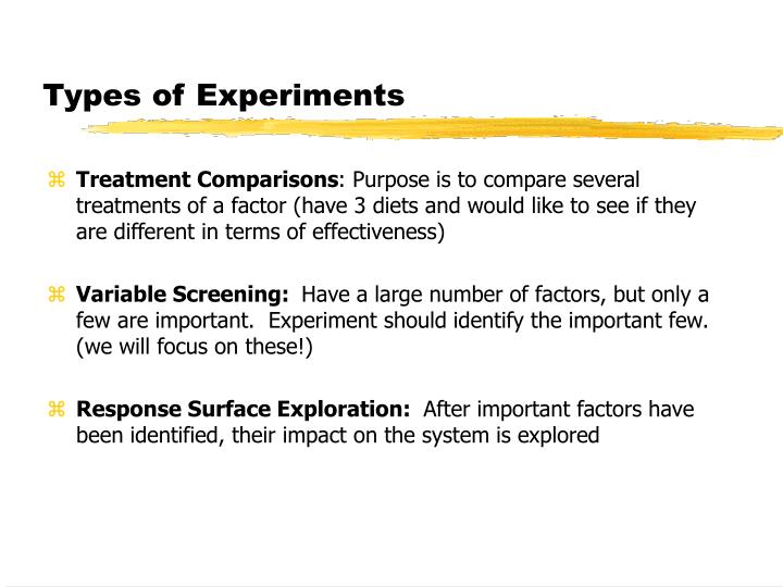 Types of Experiments
