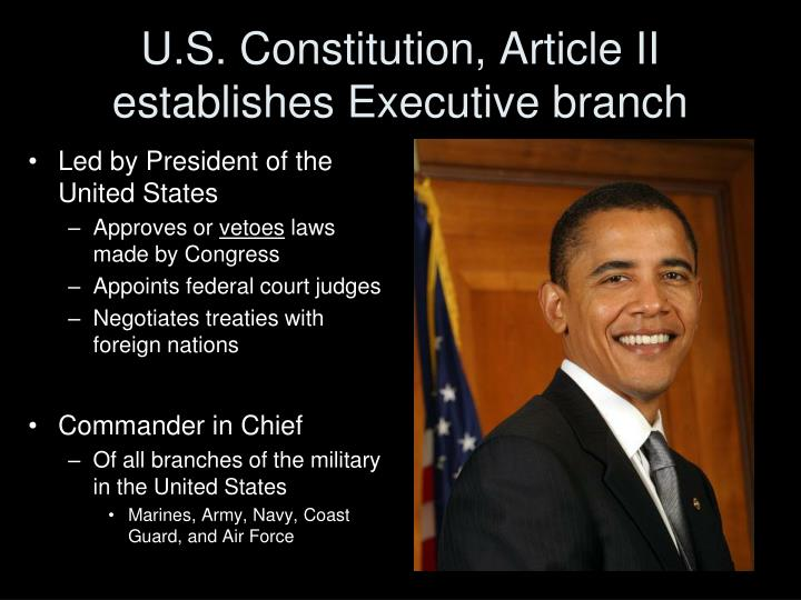 U s constitution article ii establishes executive branch