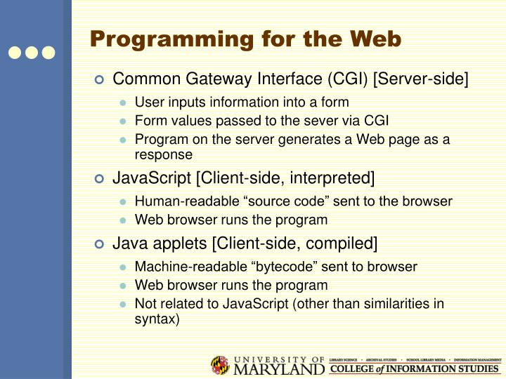 Programming for the Web