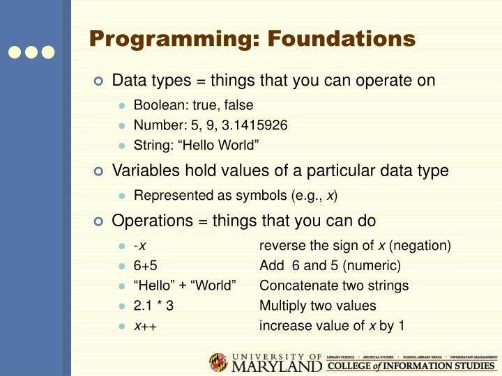 Programming: Foundations