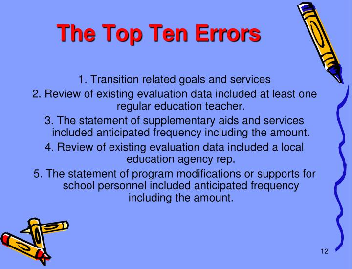 The Top Ten Errors