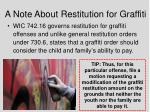 a note about restitution for graffiti