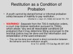 restitution as a condition of probation