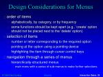design considerations for menus