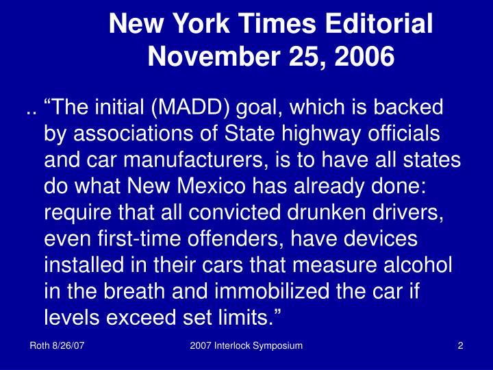 New york times editorial november 25 2006