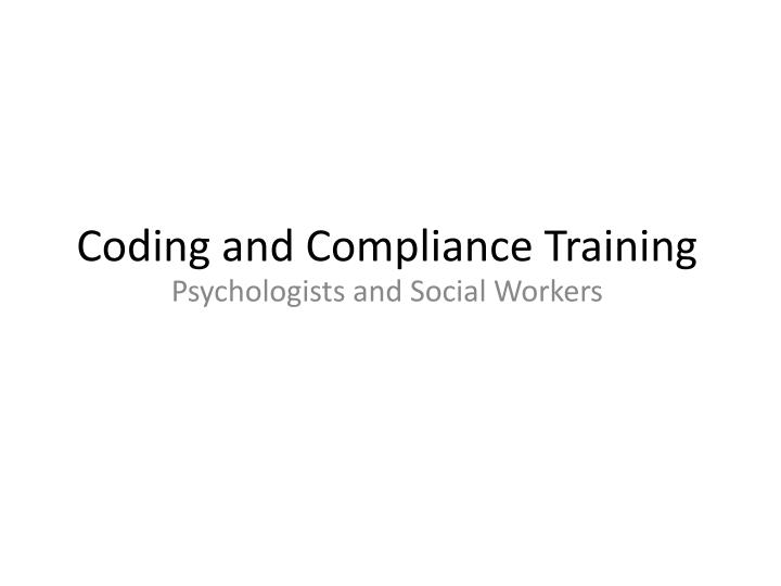 coding and compliance training n.