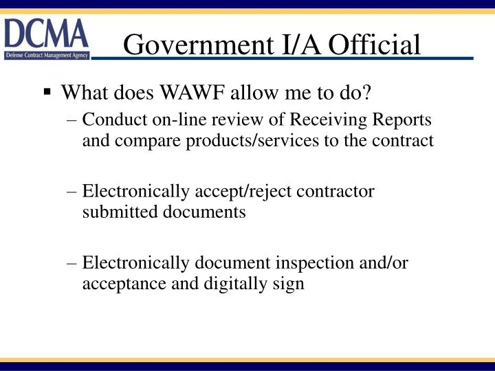 Government I/A Official