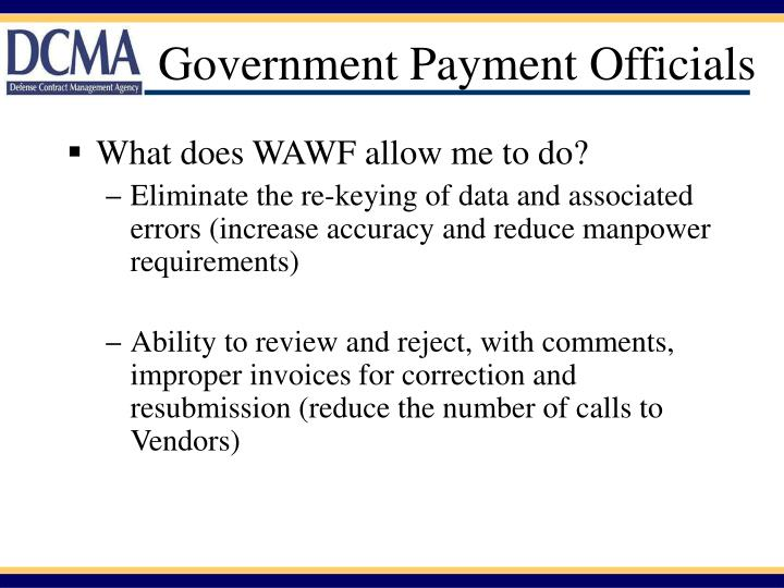 Government Payment Officials