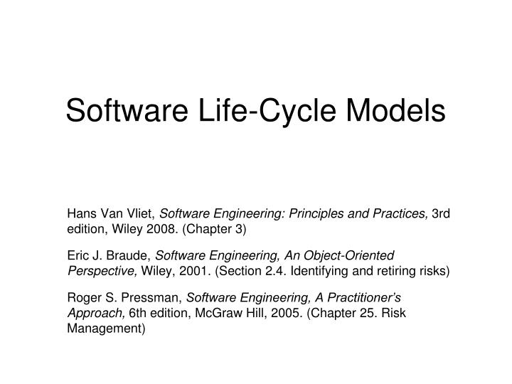 PPT - Software Life-Cycle Models PowerPoint Presentation