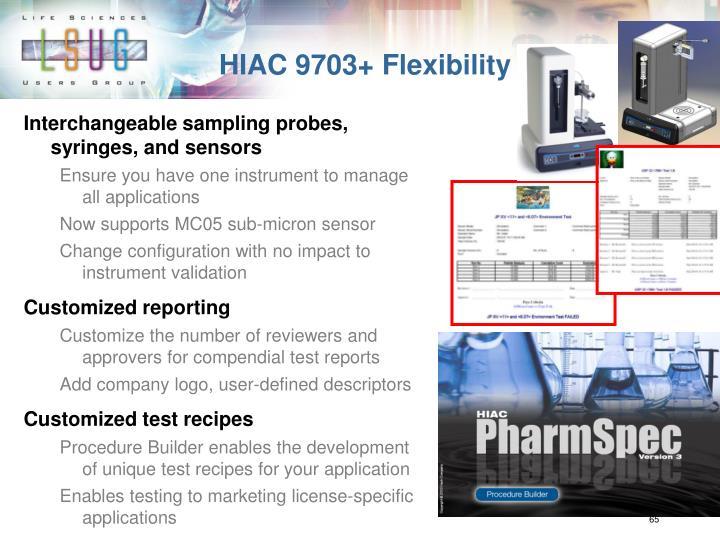 HIAC 9703+ Flexibility