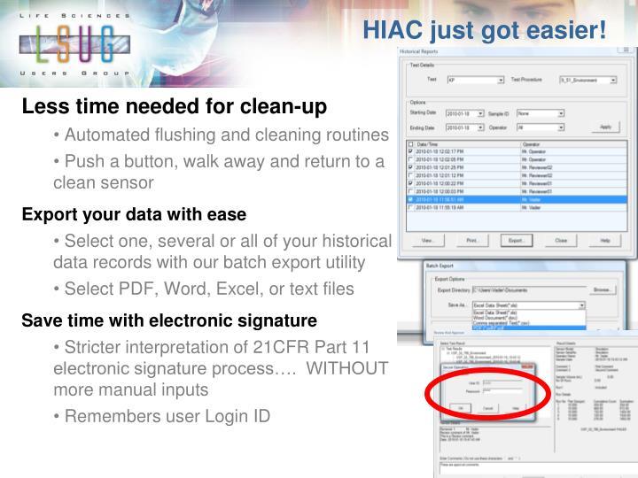 HIAC just got easier!