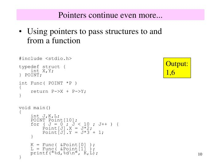 Pointers continue even more...