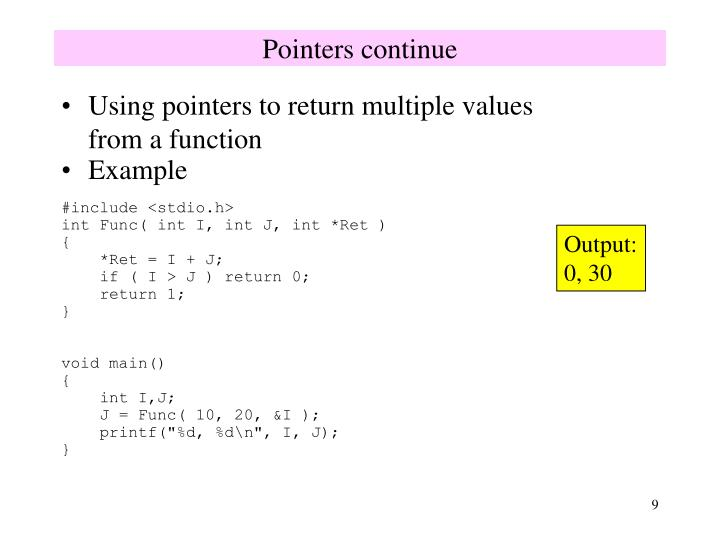 Pointers continue