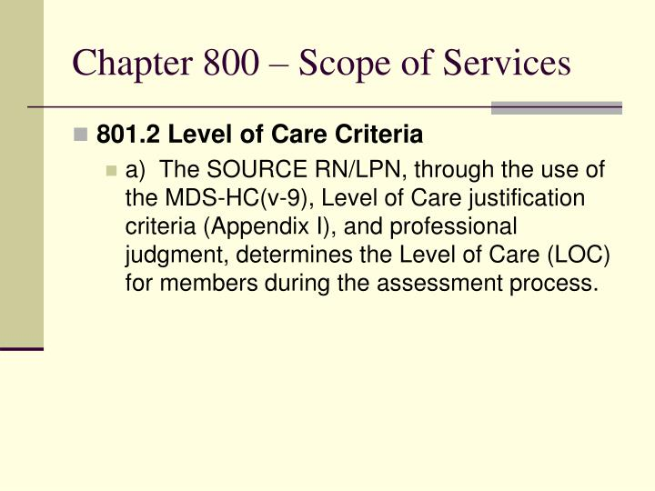 Chapter 800 – Scope of Services