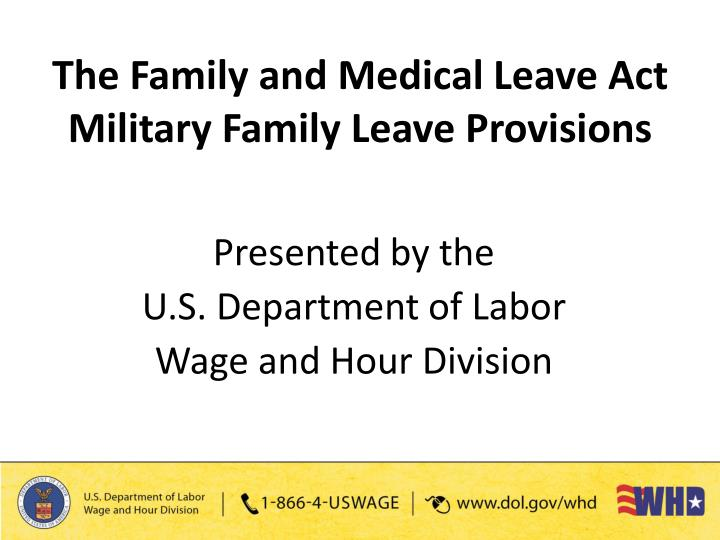 family and medical leave act fmla The family and medical leave act (fmla) allows employees to meet medical  and family care needs while still maintaining job and economic security.