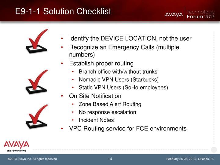 E9-1-1 Solution Checklist