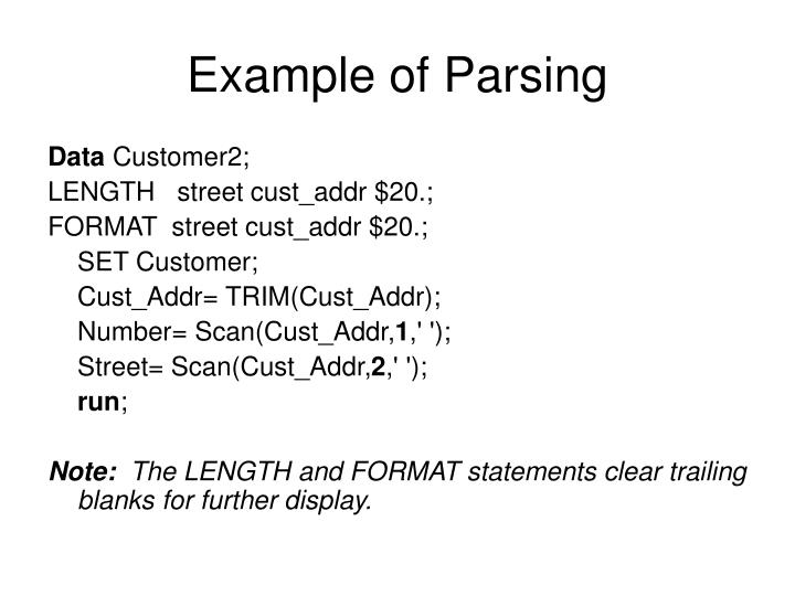 Example of Parsing