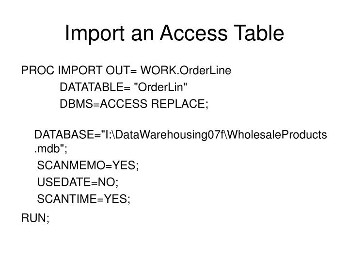 Import an Access Table
