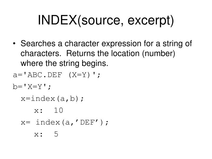 INDEX(source, excerpt)
