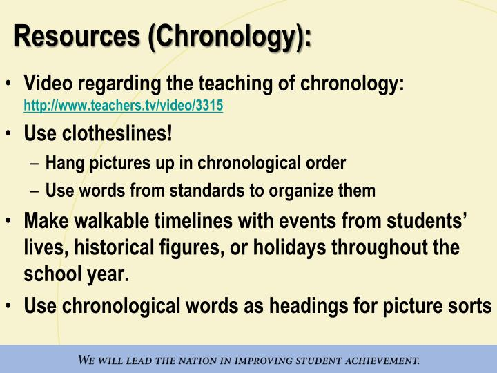 Resources (Chronology):