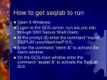 how to get seqlab to run