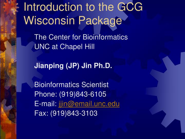 introduction to the gcg wisconsin package