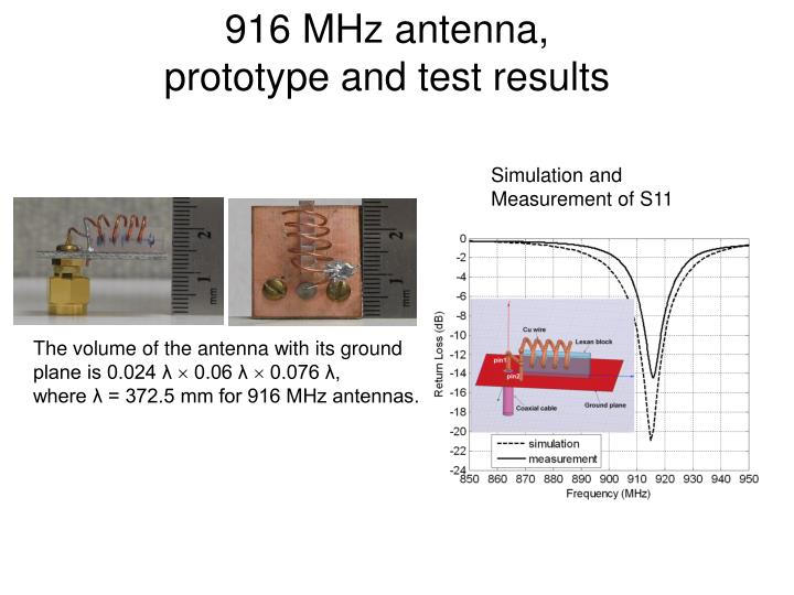 916 mhz antenna prototype and test results