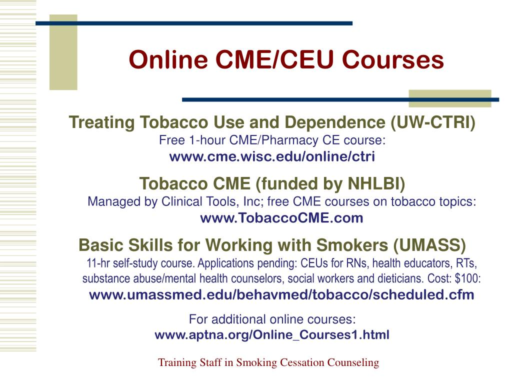 Free online tobacco cessation training herbal cigarettes online free shipping